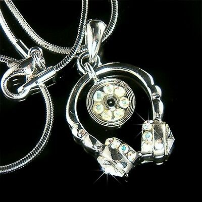 $ CDN52.46 • Buy ~Headphone~ Made With Swarovski Crystal Studio Stereo DJ CD MUSIC Disc Necklace