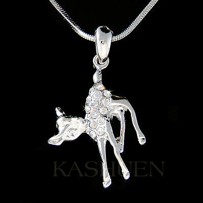 £25.87 • Buy BAMBI DEER Made With Swarovski Crystal Cute Baby Fawn Charm Necklace Jewelry New