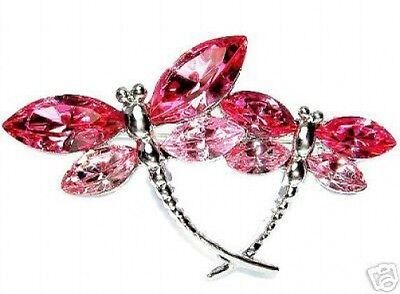 £31.87 • Buy ~Pink Rose DRAGONFLY Made With Swarovski Crystal Mother Child Bridal Pin Brooch