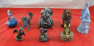 $96 • Buy Lot Of 8 Ceramic & Plastic Dragon Statues Figurines 1 Stone Crow Painted  X4B28