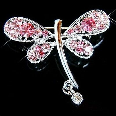 £31.16 • Buy ~Pink DRAGONFLY Made With Swarovski Crystal Bridal Wedding Prom Party Pin Brooch
