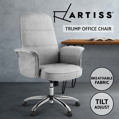 AU119 • Buy Artiss Fabric Office Chair Task Side Conference Computer Desk Chairs Seat Grey