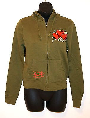 NEW ED HARDY Christian Audigier Hoodie Sweatshirt Graphic HEARTS ZipUp Olive NWT • 47.63£