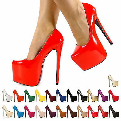 New Womens Ladies Concealed Platform Stiletto High Heels Court Shoes Size 3-8 • 16.99£