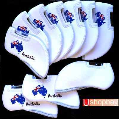AU25 • Buy Australia Day Anzac Iron Covers Golf Tour Clubs X 10 Pc Set BN White Color