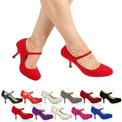 £16.99 • Buy Womens Ladies Mary Jane Ankle Strap Mid Heel Office Work Party Court Shoes