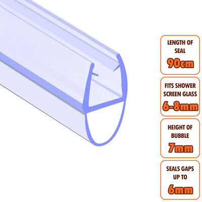 ECOSPA Bath Shower Screen Door Seal Strip • For 6-8mm Glass • Seals Gaps To 6mm • 5.49£
