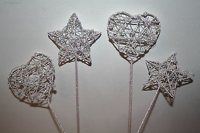 £5.99 • Buy Iridescent Pearl Wand Choice Of Heart Or Star Wedding Bridesmaid Gift Flowers