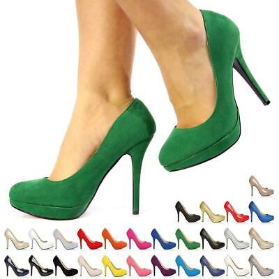 Womens Ladies High Stiletto Heel Platform Court Shoes Size 3-8  • 16.99£
