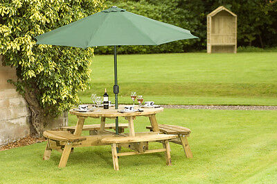 8 Seater Round Standard Picnic Table Bench Pub Club Home Garden Park Outdoor • 521.91£
