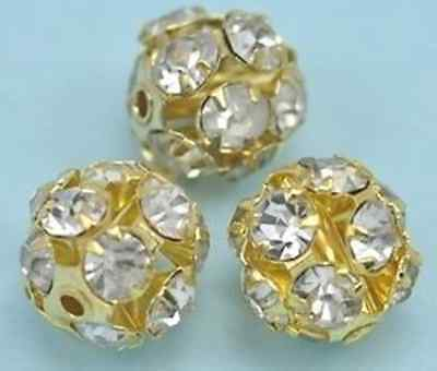 £4.67 • Buy Gold Plated Rhinestone Crystal Diamante Round Ball Spacer Beads Jewellery Making