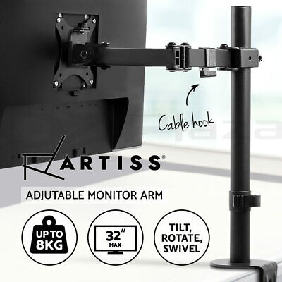 AU43.95 • Buy Artiss Monitor Stand Single Arm Desk Mount Computer LCD LED TV Holder Display