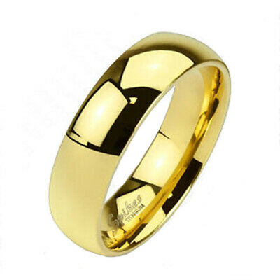 £8.79 • Buy Solid 14K Gold Over Titanium 6mm Plain Wedding Band Ring Size 5-13