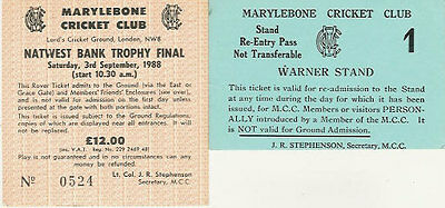 Middlesex V Worcestershire 1988 Nat West Bank Trophy Cricket Ticket, Lord's • 5.99£