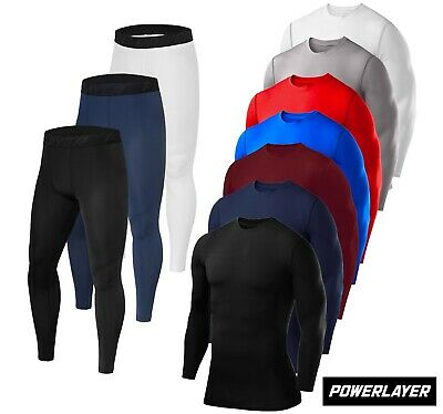 PowerLayer Men's & Boys' Compression Baselayer Skins Clothing Top + Leggings Set • 26.99£