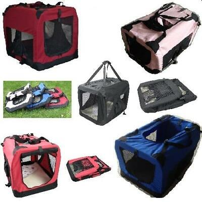 FABRIC PET CARRIER BAG CRATE DOG CAT PUPPY PORTABLE CAGE TRAVEL FOLDABLE S To XL • 20.99£