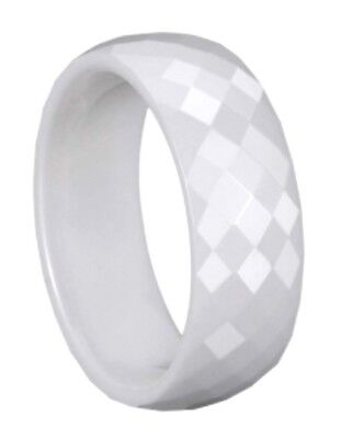 $9.99 • Buy MEN 8mm Faceted White CERAMIC WEDDING BAND Comfort Fit Ring Size 9