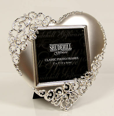 £9.45 • Buy Heart Lace Polished Silver Photo Frame 14cm X 14cm In Presentation Box 20233