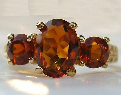 £319.42 • Buy 3-Stone Madeira Citrine 14k Yellow Gold Ring W/Appraisal, Gold,Amber, Sherry Red