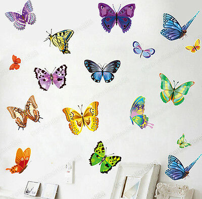 £3.99 • Buy 17 Colourful Butterflies Wall Stickers Transparent Vinyl Decal Home Kids Decor
