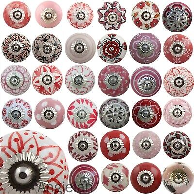 Pink Red Ceramic Door Knobs MIX & MATCH Retro Vintage Shabby Chic Drawer Upcycle • 2.50£