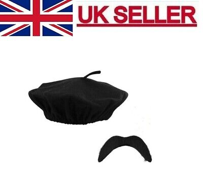 £3.49 • Buy Black Beret French Men Flat  Hat With Tash Fancy Dress Party Costume One Size