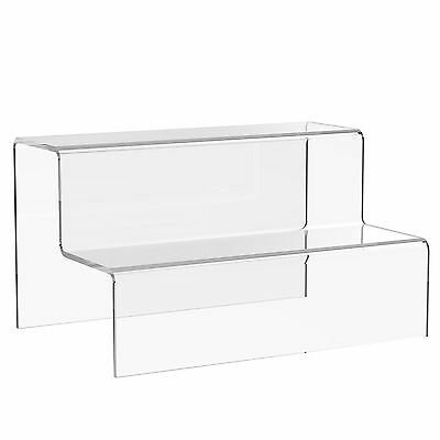 2 Step Tier Display Stand Acrylic Jewellery Riser Plastic Retail Shop Plinth • 7.10£
