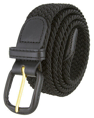 $7.19 • Buy Black Leather Covered Buckle Woven Elastic Stretch Belt 1-1/4  Wide, Black