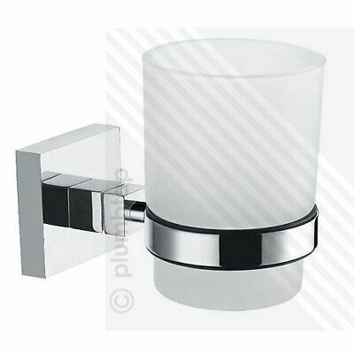 ECOSPA Toothbrush Holder / Drinking Glass Tumbler In Chrome • Bathroom Cloakroom • 12.95£
