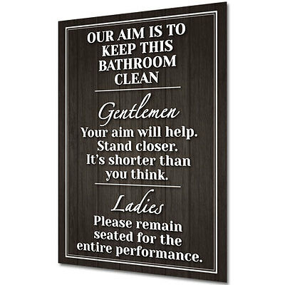 £2.99 • Buy WALL SIGN / BATHROOM PLAQUE Shabby Chic Funny Poster Gift - MUST READ & LAUGH!
