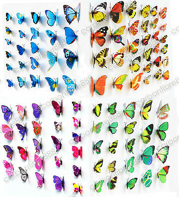 £3.09 • Buy 3D Butterfly Wall Art Decal Stickers Magnet Mural Home Decoration 12pcs 48pcs