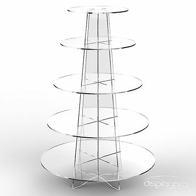 £18.64 • Buy Displaypro 5 Tier Acrylic Cupcake Display Stand Cup Cake Party Holder - Round