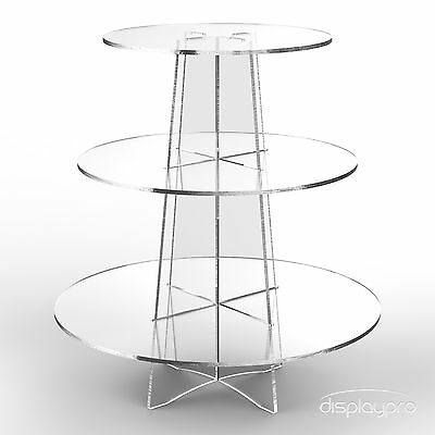 £13.24 • Buy Displaypro 3 Tier Acrylic Cupcake Display Stand Cup Cake Party Holder - Round