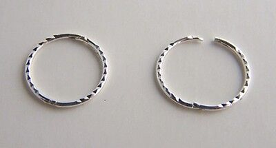 925 Sterling Silver Large 19mm Diamond D/CUT Hinged Hoop Sleepers X'MAS GIFT NEW • 9.75£