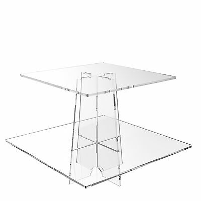 £14.91 • Buy Cup Cake Display Stand 2 Tier Cupcake Acrylic Clear Riser- Square By Displaypro