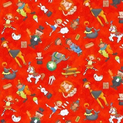 $ CDN7.52 • Buy Fat Quarter Circus Circus Whimsical  Red Cotton Quilting Fabric  50 X 55cm