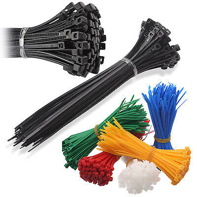 Nylon Plastic Cable Ties Long And Wide Extra Large Zip Ties Black And White Wrap • 1.35£