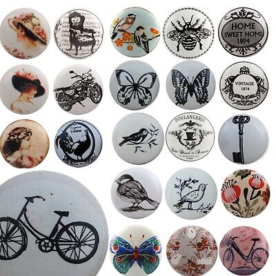 Black Vintage Ceramic Door Knobs MIX & MATCH Handles Cupboard Drawer Pulls • 2.50£