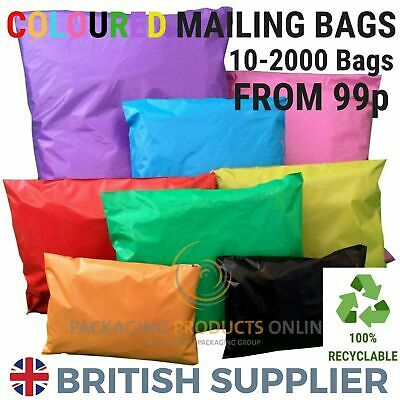 Coloured Mailing Bags Strong Polythene Postage Plastic Mail Post Seal All Sizes • 5.72£