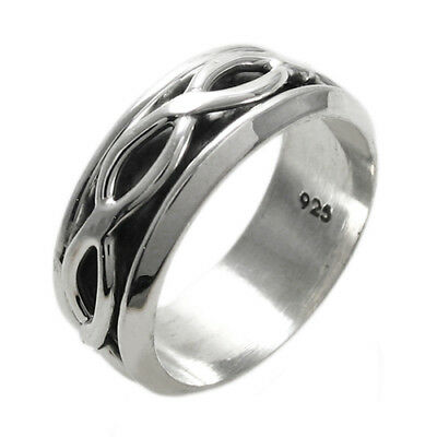925 Sterling Silver Men's Criss Crossing Center Spinning Band Ring Size 9-14 • 17.88£