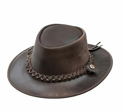 OUTBACK Soft Brown Aussie Bush Hat - Leather Hat By Wombat Leather Cowboy New • 28.99£