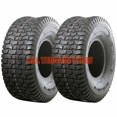 TWO 15x6.00-6 TURF TYRES For Ride On Lawn Mower Garden Tractor 15x600-6 15 600 6 • 37.50£