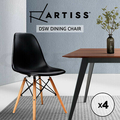 AU125.95 • Buy Artiss Retro Replica DSW Dining Chairs Cafe Chair Kitchen Wood Black X4