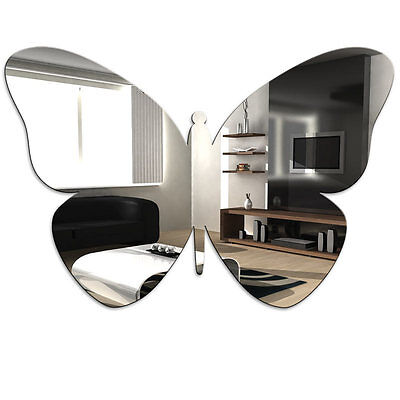Butterfly Acrylic Mirror - Home Bathroom Bedroom Childrens Wall Shatterproof • 5.43£