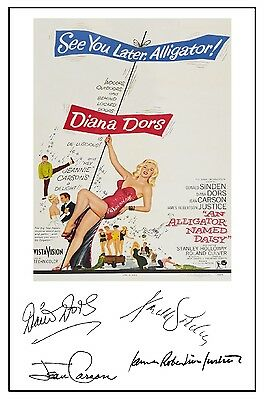 Diana Dors - An Alligator Named Daisy - Cast Signed (pre Printed) A4 Poster • 4.49£