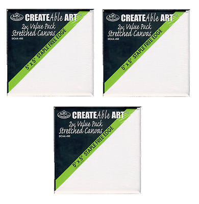 Pack of 4 Artist Black Blank Stretched Square Canvas 6 x 6 150mm
