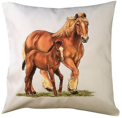 Horse Equestrian Shire Themed Cotton Cushion Cover - Perfect Gift • 14.99£