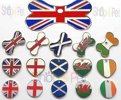 Dog Cat Tag Country Flag Designs Various Shapes PET ID TAGS ENGRAVING OPTIONS • 3.95£