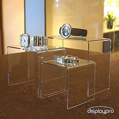 Acrylic Nesting Plinths Riser Shelf Shop Counter Display Stand Clear Black White • 11.77£