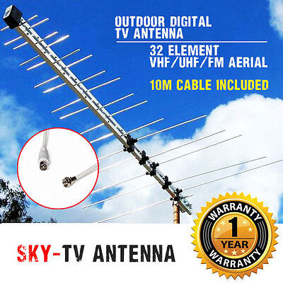 AU39.90 • Buy New TV Antenna 32 Element Log Periodic Outdoor UHF VHF FM HDTV Digital Aerial